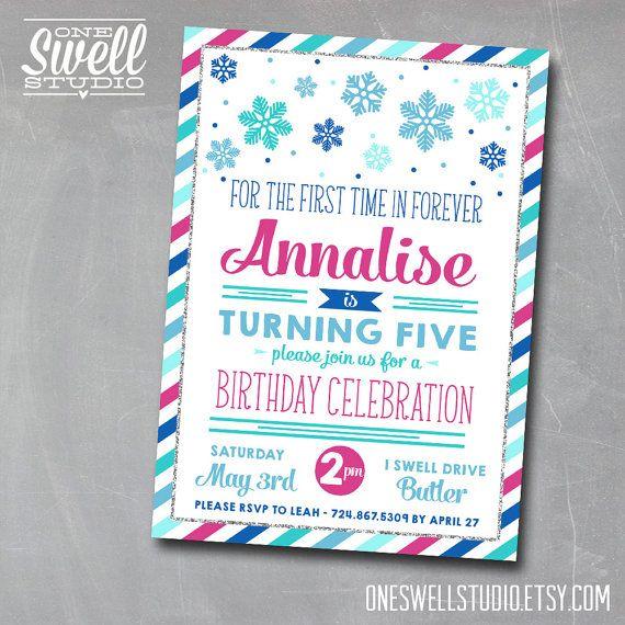 Disney FROZEN Chevron Birthday Invitation Frozen Birthday FROZEN – Birthday Party Invitation Format