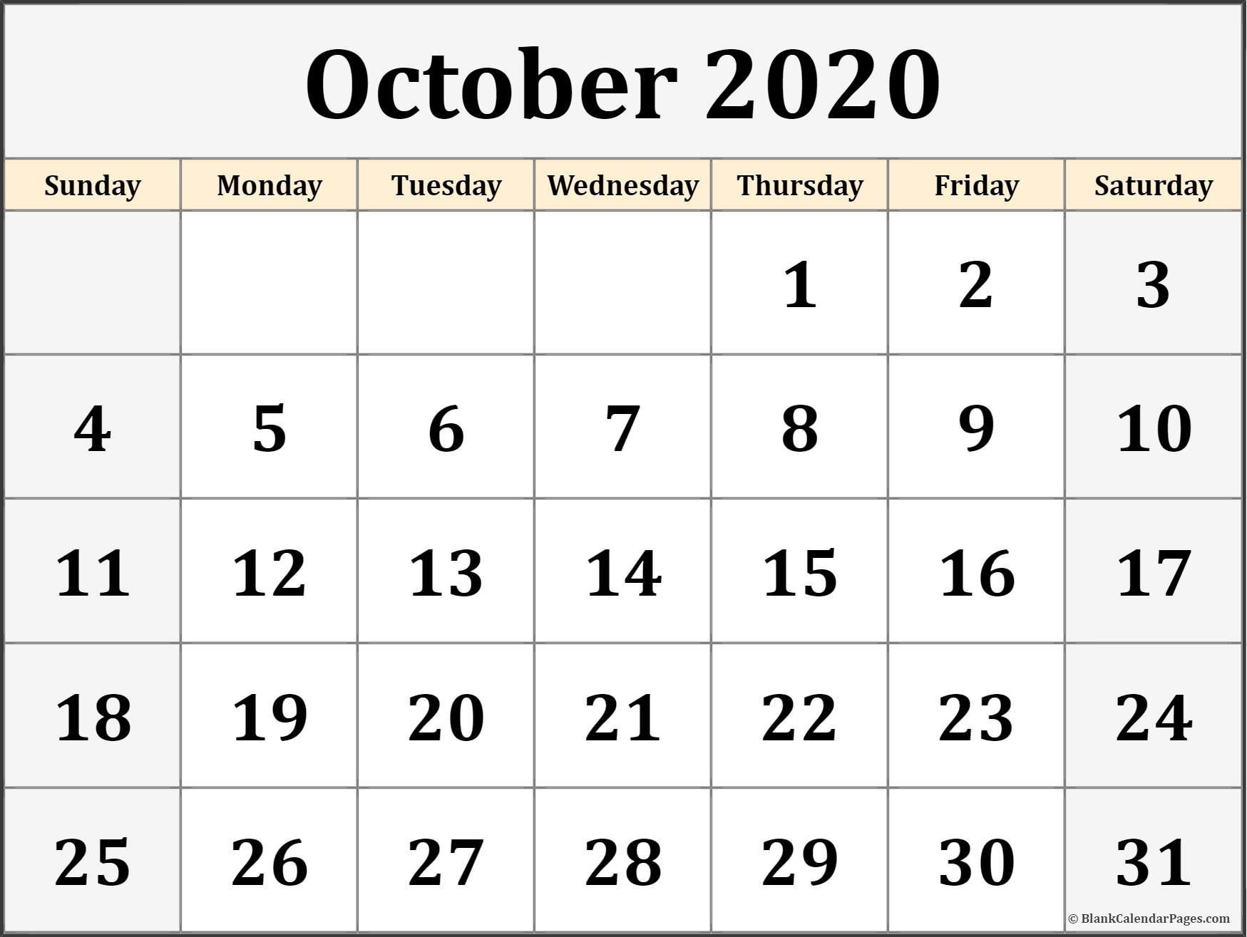october 2020 calendar free printable monthly calendars