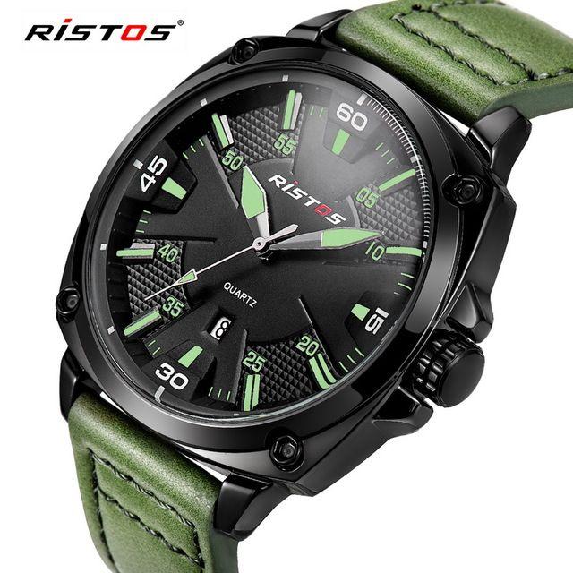 ad7b1290c83f RISTOS Quartz Men Watch Casual Genuine Leather Watches Reloj Masculino  Wristwatch Luxury Reloj Hombre Montre Military Hot 93003