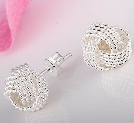 dbf071d95 Silver Knot Style Earrings..love these! | Clothes | Earrings, Stud ...
