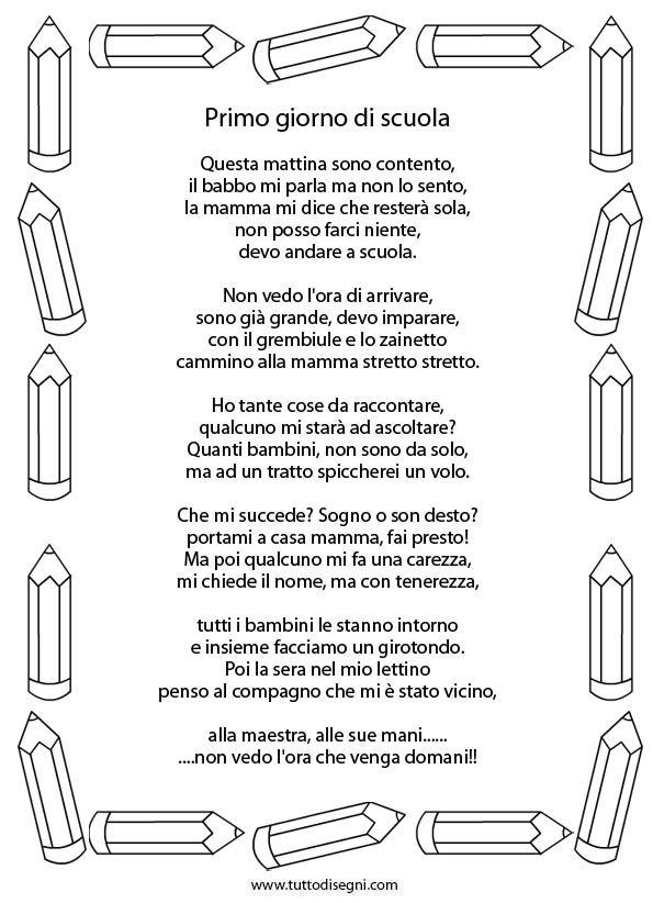 Poesia Primo Giorno Di Scuola Italian Nursery Rhymes Quotes For