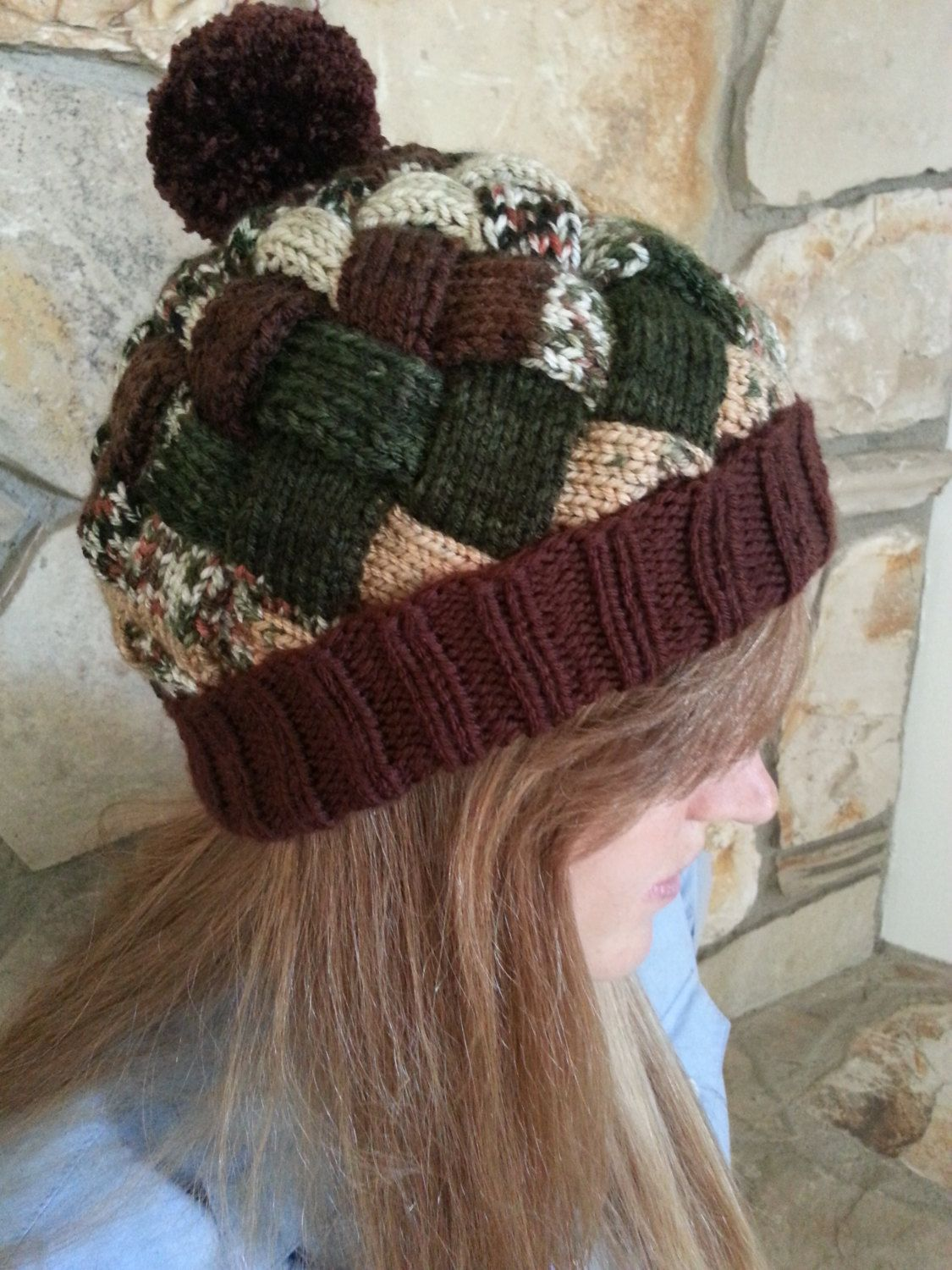 Entrelac Knitted Hat Beanie Variegated Colors by KnitPanache, $6.95