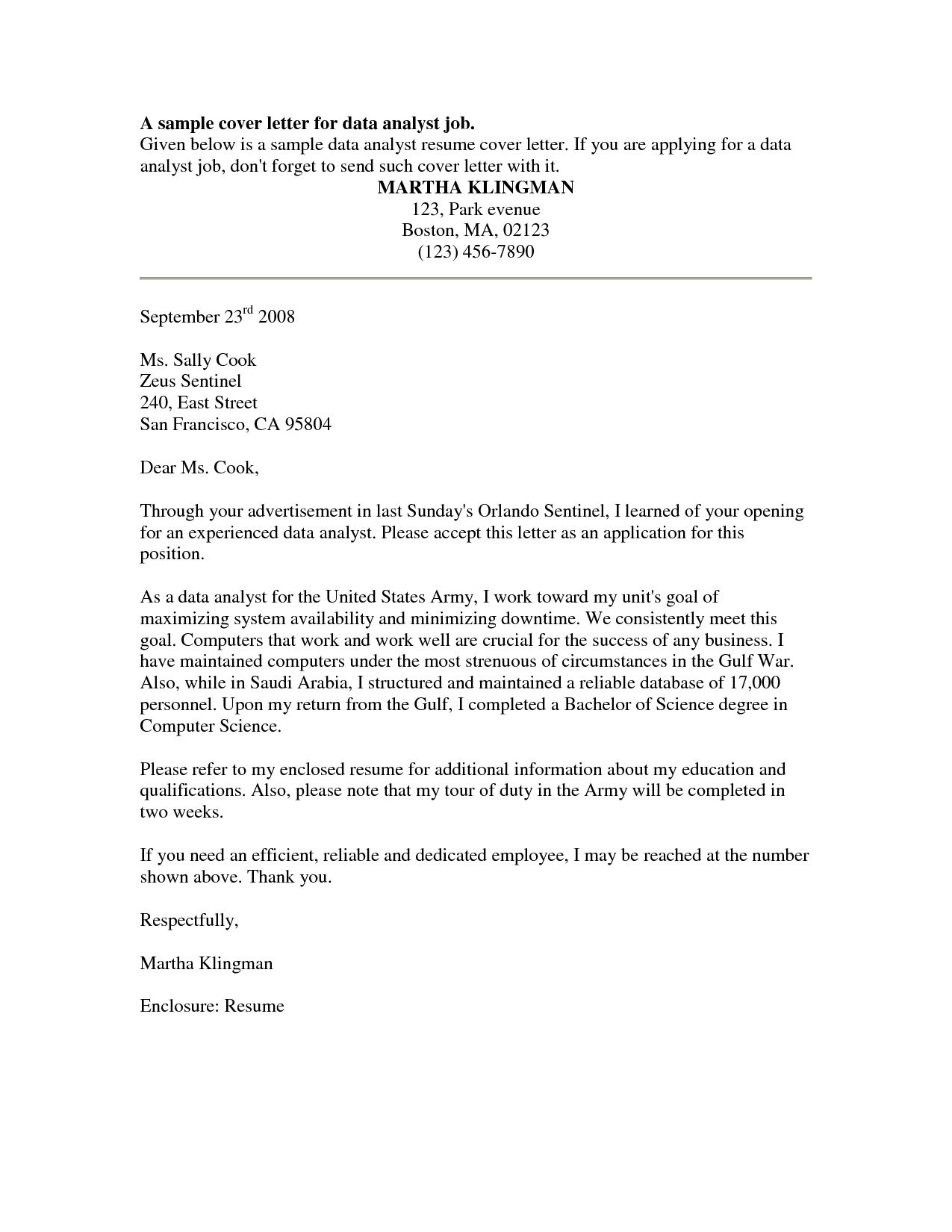 Cover Letter Template For Internal Position Job Cover Letter