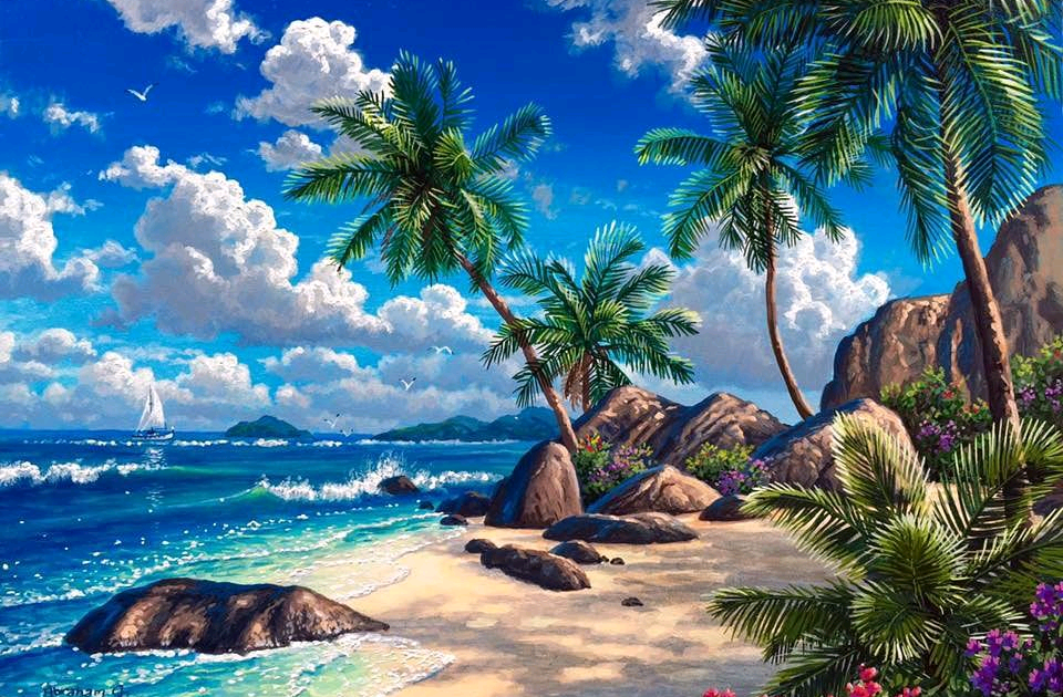 Lukisan Alam Tepi Pantai Ideku Unik