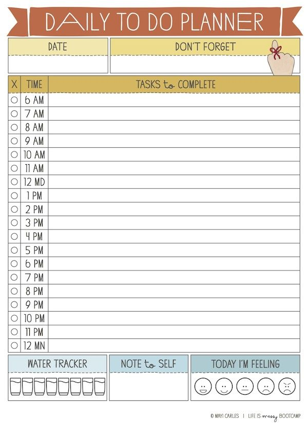 Daily To Do Planner 12 Hours With Images Planner Printables