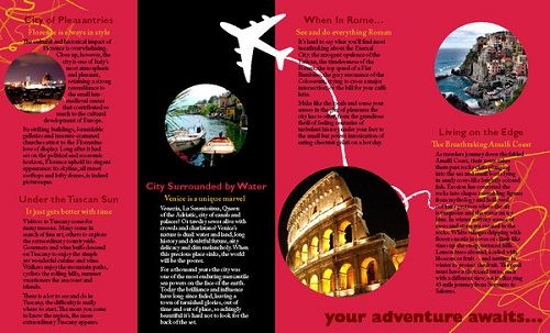 Travel Brochure Examples  Italy  Brochure Ideas Trifold And
