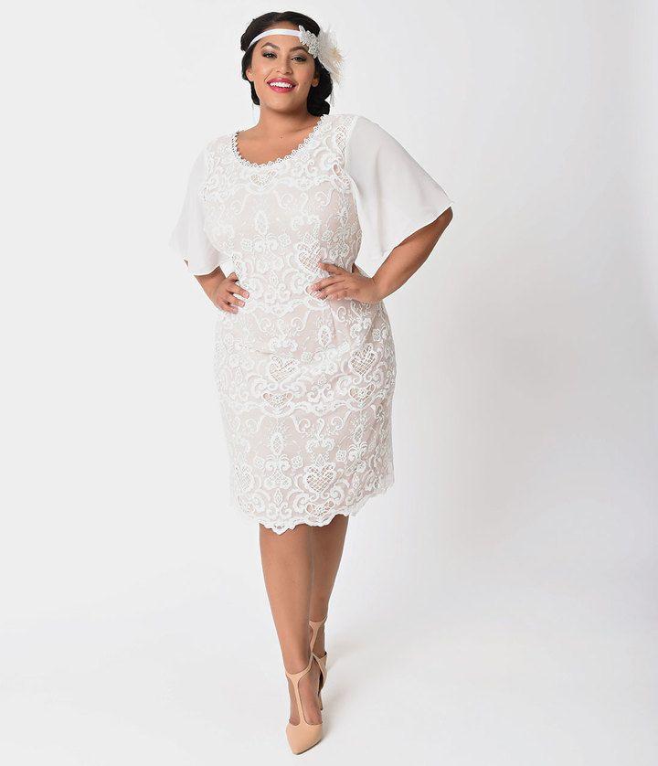 Plus Size 1920s Style Ivory & Light Beige Lace Short Sleeve Flapper ...