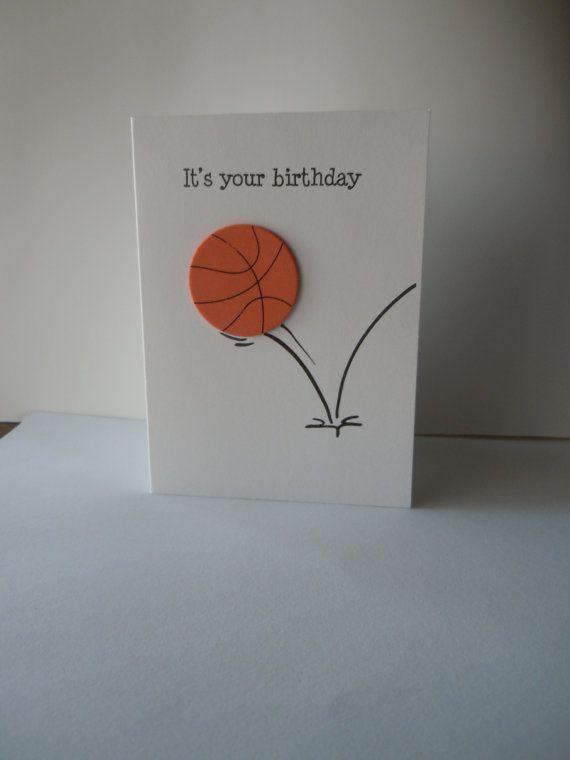 Happy Birthday Handmade Greeting Card With Orange Basketball Foam Embellishment