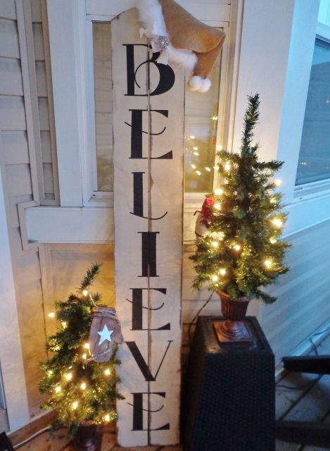 Diy believe stencil farmhouse style vinyl stencil believe decal diy pallet sign using 2 1x6 boards and vinyl stencil for the lettering super cute with santa hat on top solutioingenieria Image collections