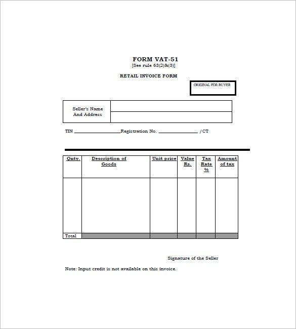 Retail Invoice Format 110 Invoice Template Invoice Template Word Invoice Format
