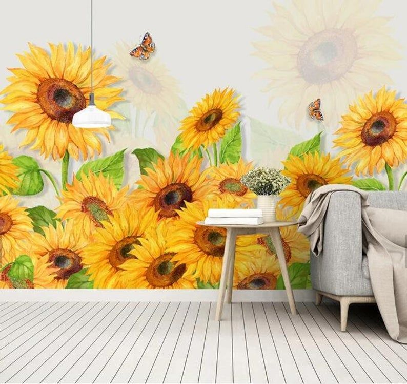 3D Full of energy, Sunflower Wallpaper, Removable Self Adhesive Wallpaper, Wall Mural,Vintage art,Peel and Stick