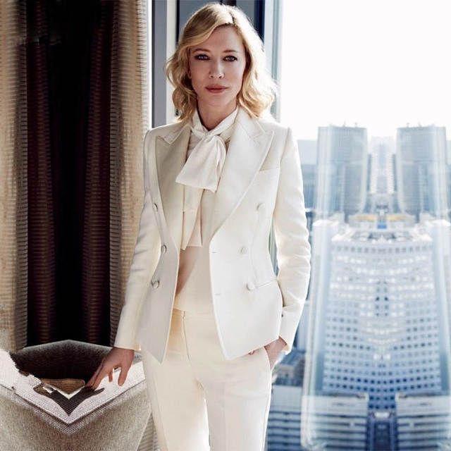 CUSTOM women business suits formal office suit work ivory ladies elegant  pant suits for weddings tuxedo female trouser suit c016868f0f67