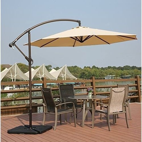 6ee3bfeb1fdf6 Hanging Patio Umbrella with Cross Base-Crank Adjustable Offset Cantilever  Beige
