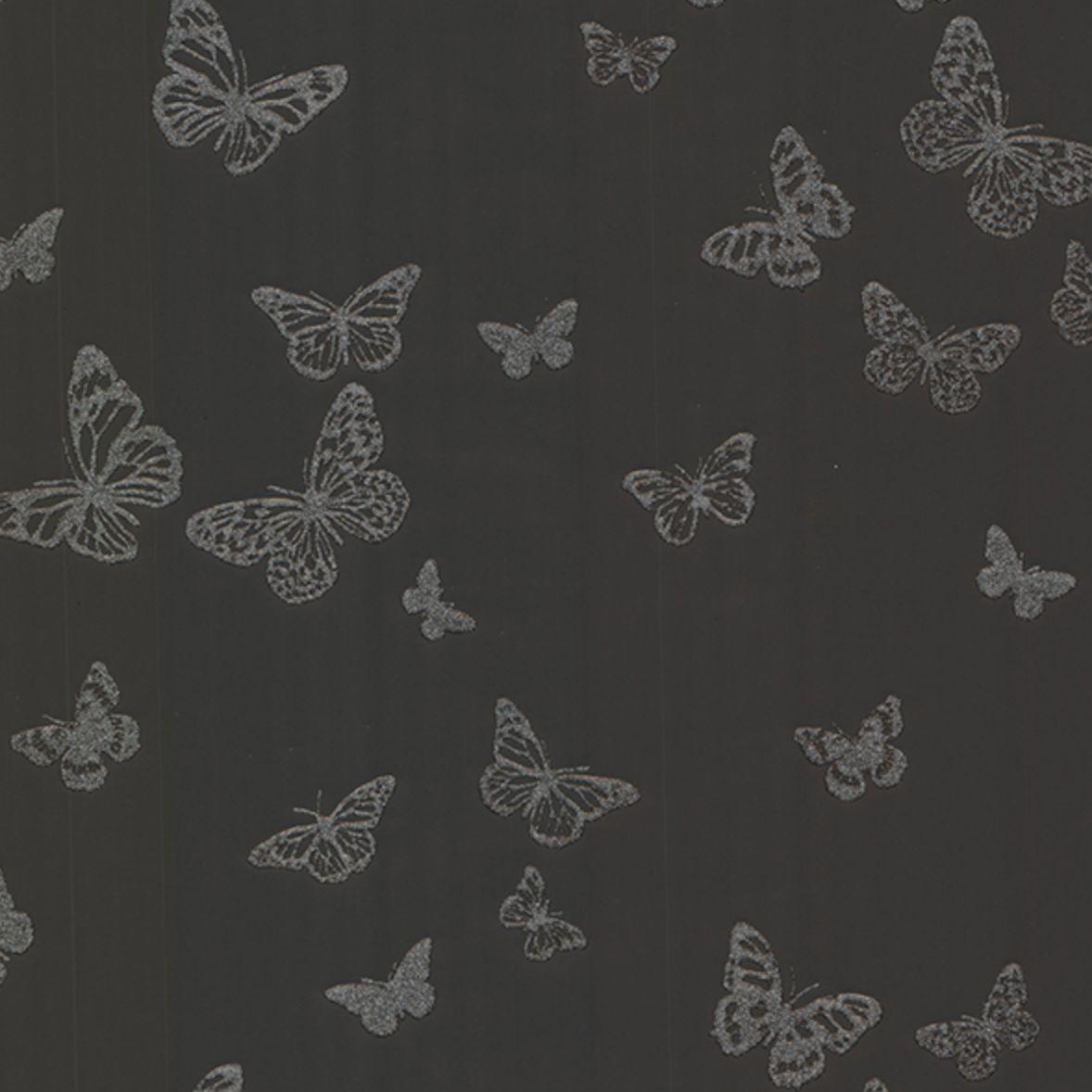 Brewster Pearl Black Butterfly Wallpaper