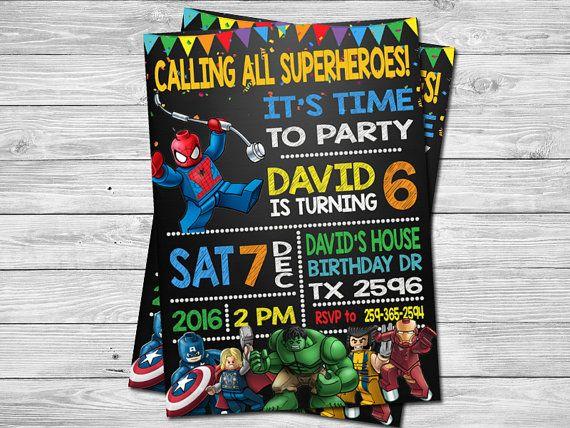 LEGO Superhero Birthday Invitation By DigitalPartyInc On Etsy