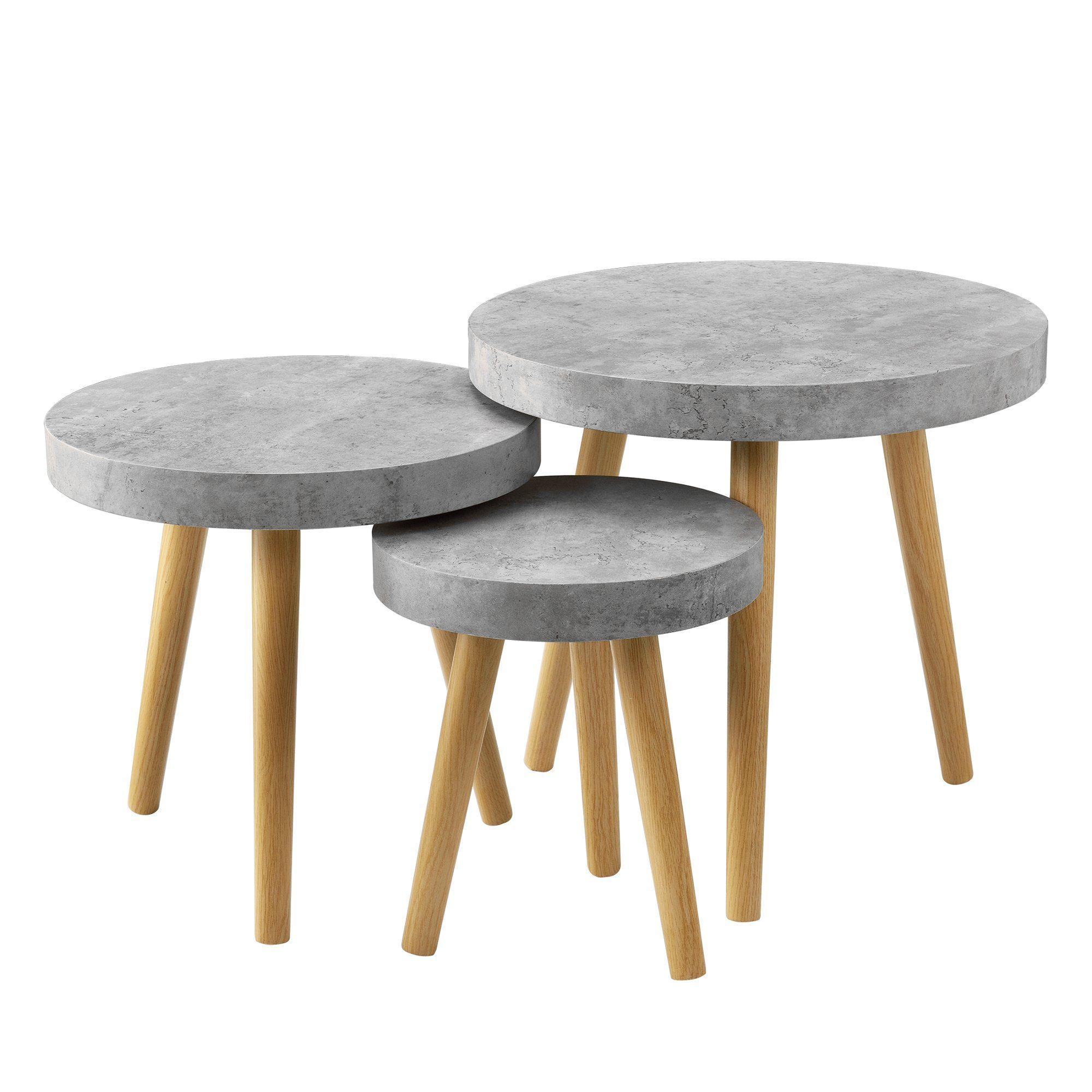 En Casa 3er Set Design Beistelltische Rund In Beton Optik Couchtisch Wohnzimmer Table Norden Home Furniture