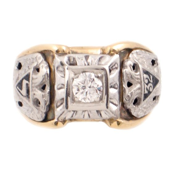 4c13dda31e552 Vintage Scottish Rite Ring • Men's 10K Gold & Diamond Ring • 32nd ...