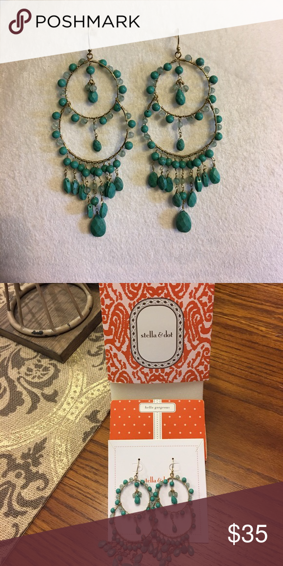 Stella Dot Azure Couture Earrings Gold Plated Chandeliers Accented In Turquoise And Green Jade With Vermeil Ear Wires 3 4 Drop Length