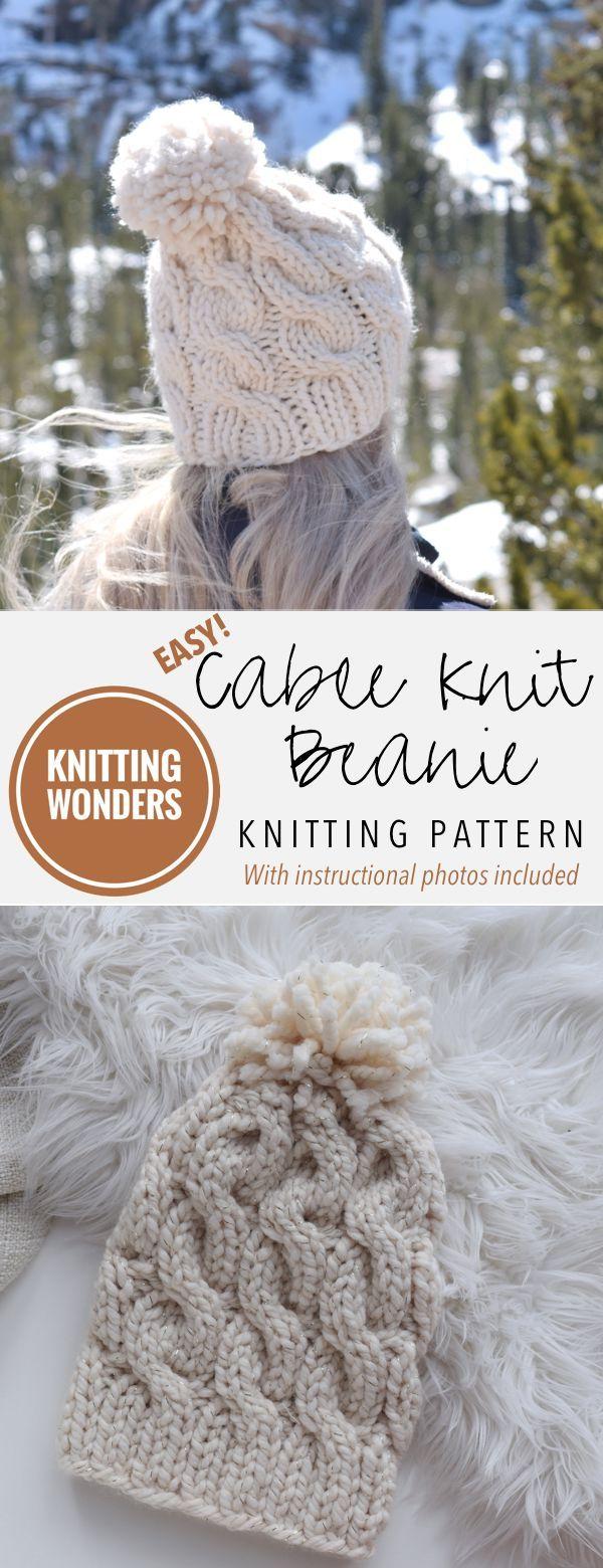 KNITTING PATTERN ⨯ Cable Knit Beanie Knitting Pattern ...