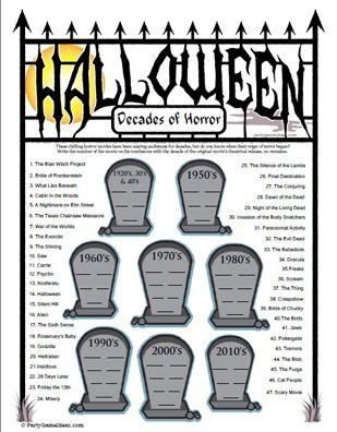 Printable Halloween Decades Of Horror Movie Trivia Game Halloween