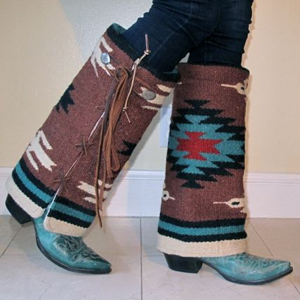 Navajo pattern woven boot cover, brown and turquoise. www ...
