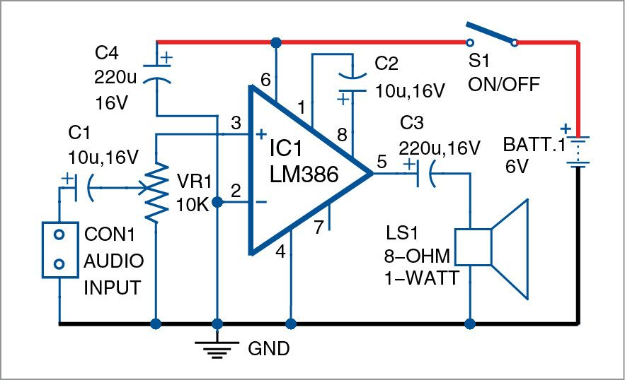 lm386 based audio amplifier electronics audio amplifier, audiohere is a simple audio amplifier circuit built around 8 pin integrated circuit lm386 the author\u0027s prototype is shown in fig 1 circuit and working circuit