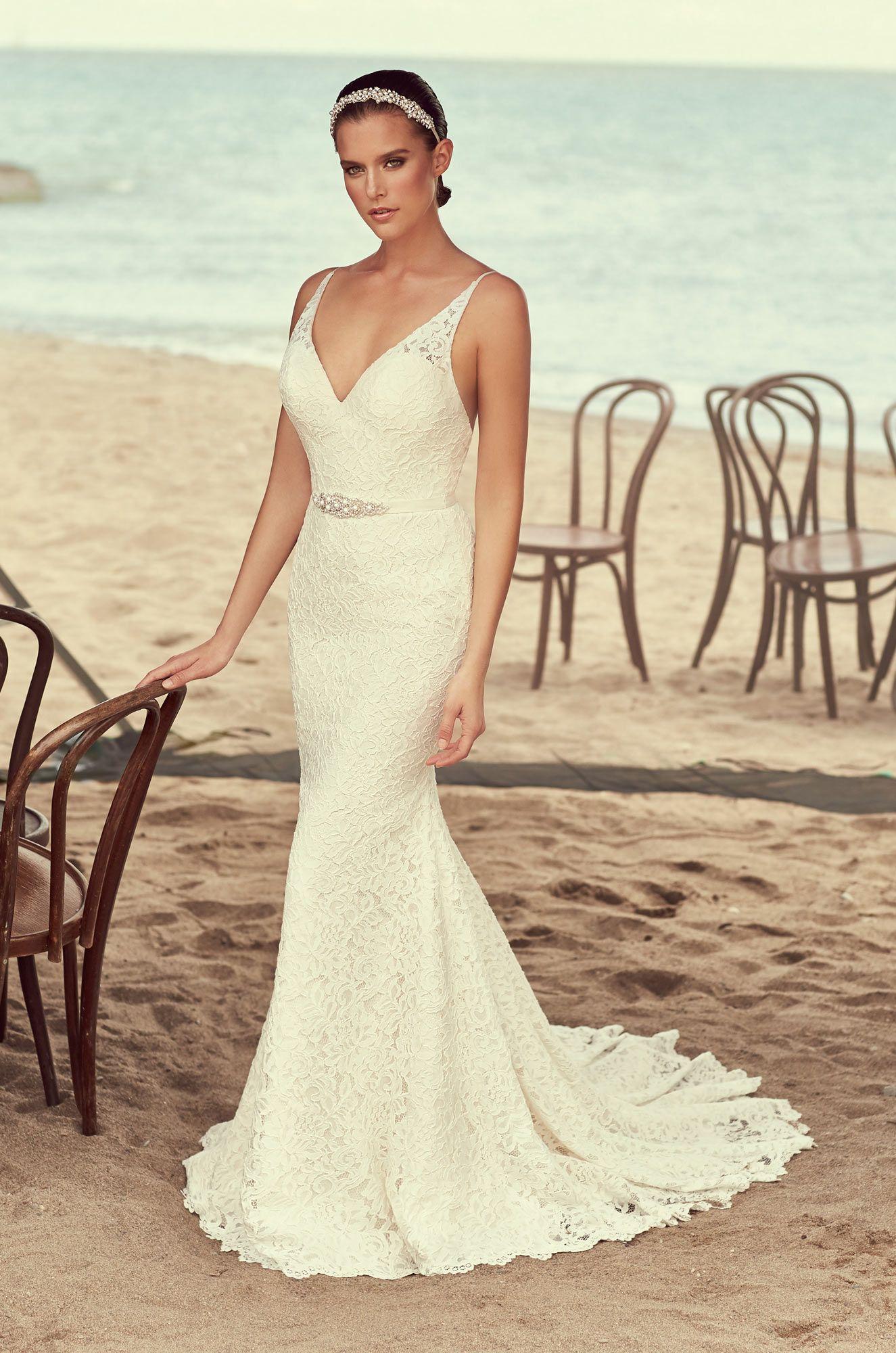 Style 2194 | Mikaella #Lace #WeddingDress. Mikaella Lace V-neckline bodice  with spaghetti straps. Fabric belt with beaded appliqué at waist.