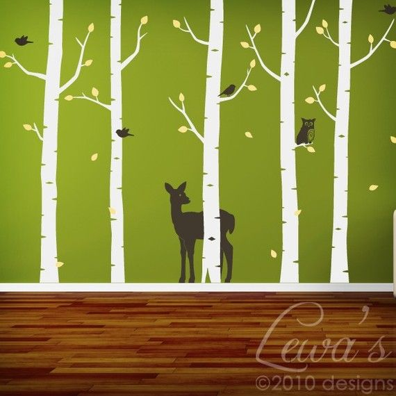 Woodland Animal Birch Tree Forest Vinyl Wall Decal Set   8.5u0027 Height  Option. Forest Wall Decal, Woodland ANIMAL Nursery, Woodland Play Room