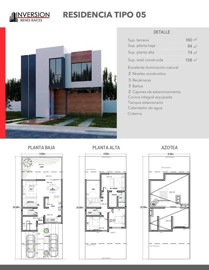 Planta y fachada architecture en 2019 projetos de for Planta de casa de dos pisos