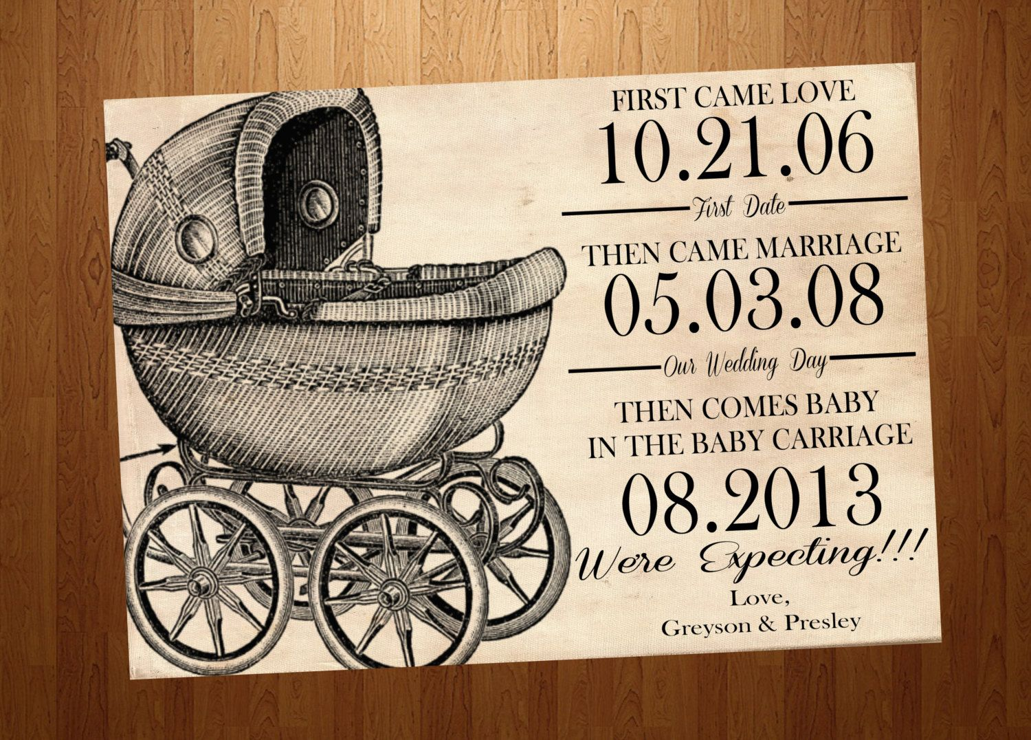 Vintage Baby Carriage Pregnancy Announcement Card by SSDdesign ...