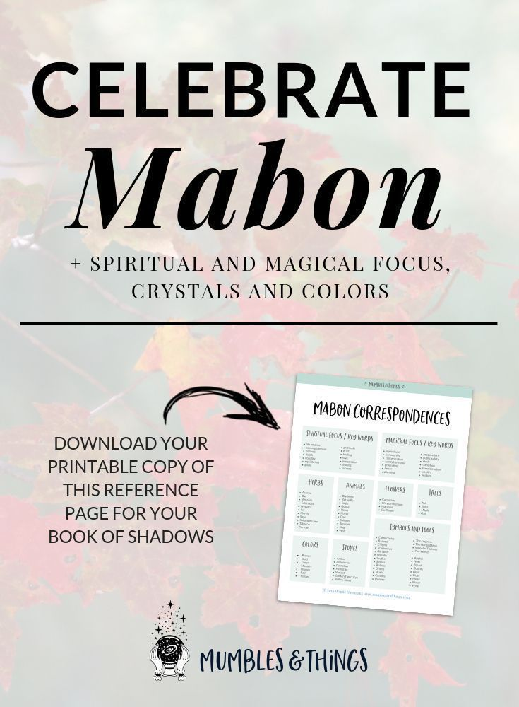 10 Ways to Celebrate Mabon and The Autumn Equinox #autumnalequinox Mabon is also known as the witches Thanksgiving. The holiday takes place surrounding the Autumn Equinox when the day and night are equal in length of time. Click through to read 10 ways to celebrate this Sabbat and download the FREE coresspondences guide. Woohoo!  #ontheblognow #crystallovers #crystalhead #crystallover #crystalpower #crystalstones #crystalmeanings #autumnalequinox 10 Ways to Celebrate Mabon and The Autumn Equin #autumnalequinox
