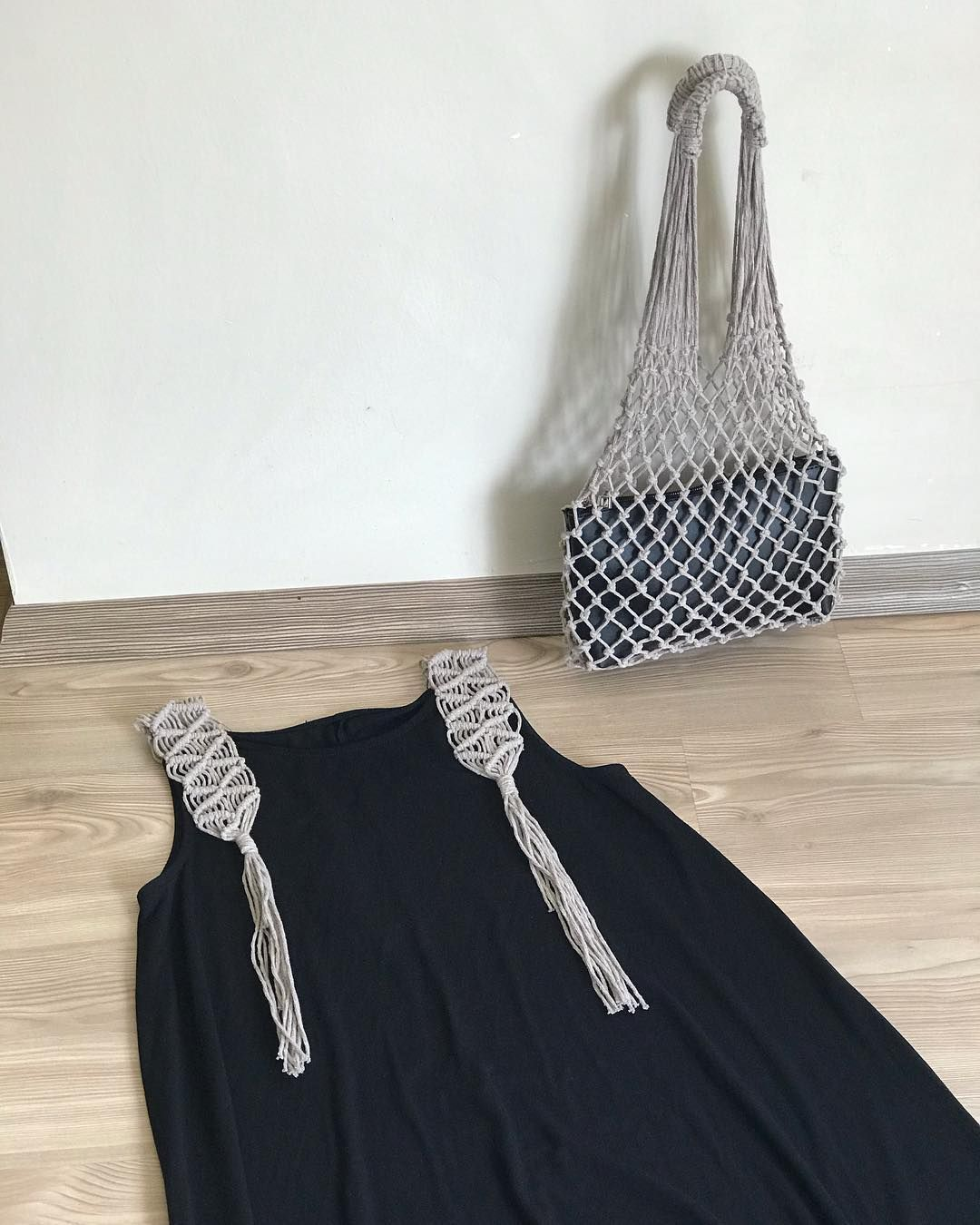 "Photo of Safiye Ayla Baran on Instagram: ""Macrame bag & Macrame hanger dress combination for summer … I think it is a beautiful duo …"