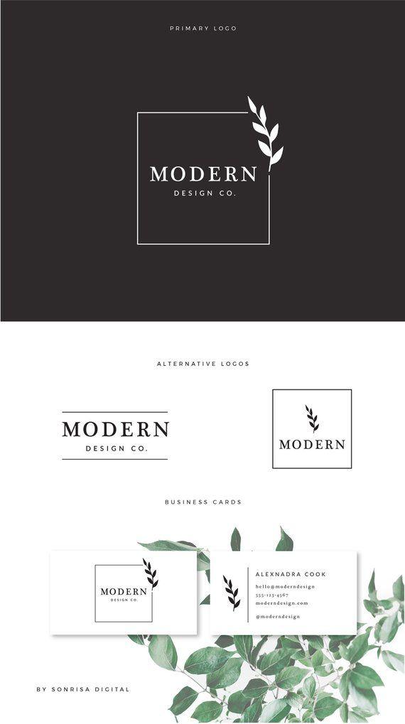 Premade Business Logo - modern leaf logo, square interior ...