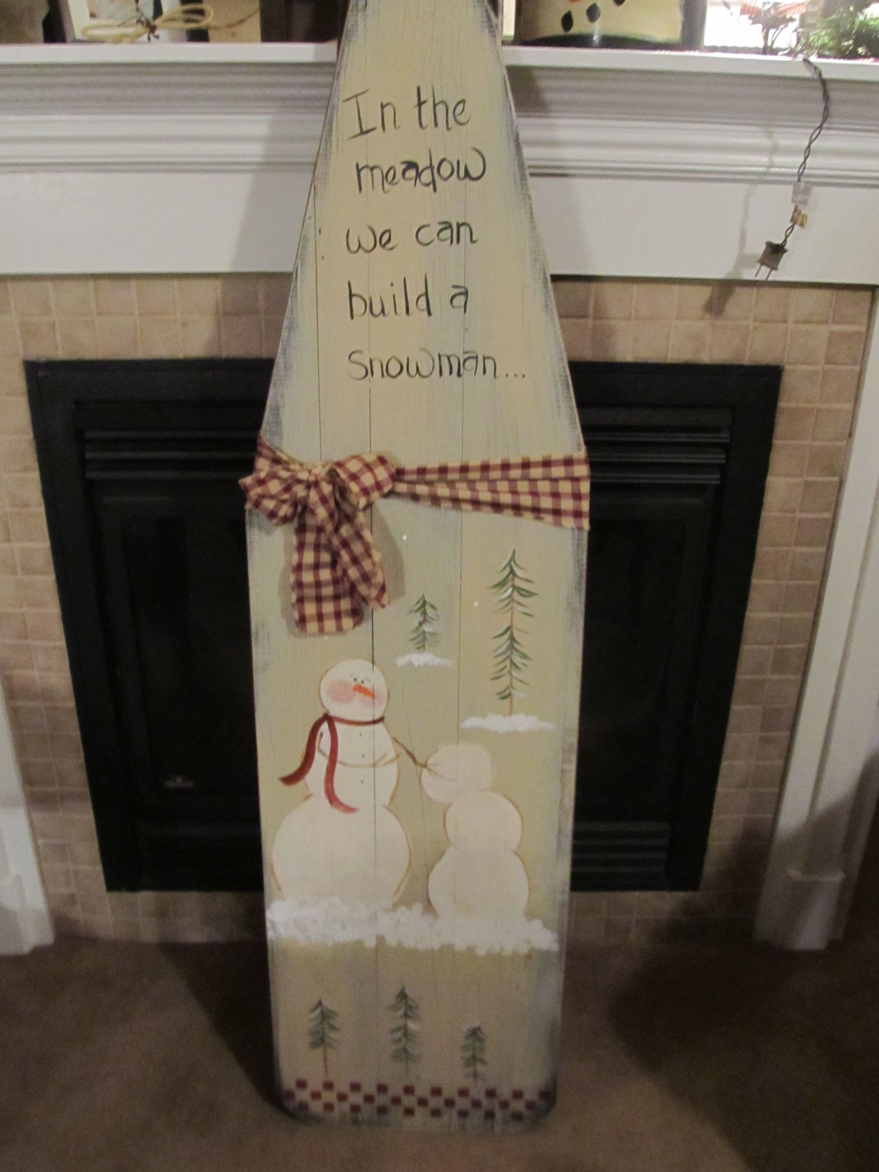 Primitive christmas craft ideas - Christmas Decor Hand Painted Vintage Ironing Board