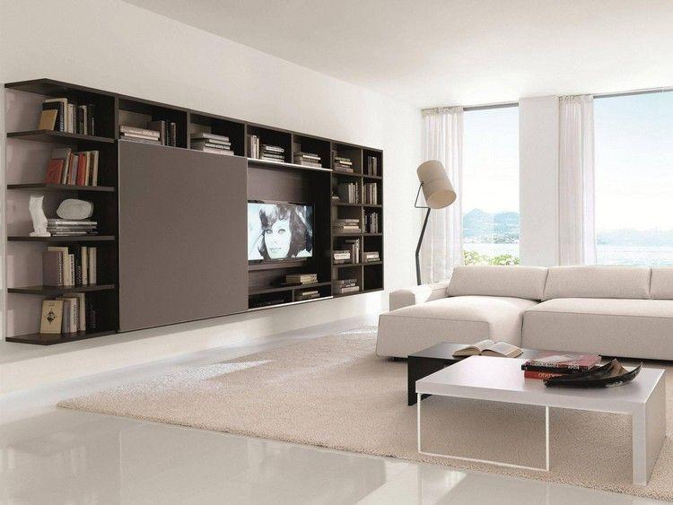 Meuble tv biblioth que en marron fonc tapis beige carrelage blanc neige et canap d 39 angle - Meuble tv et bibliotheque ...