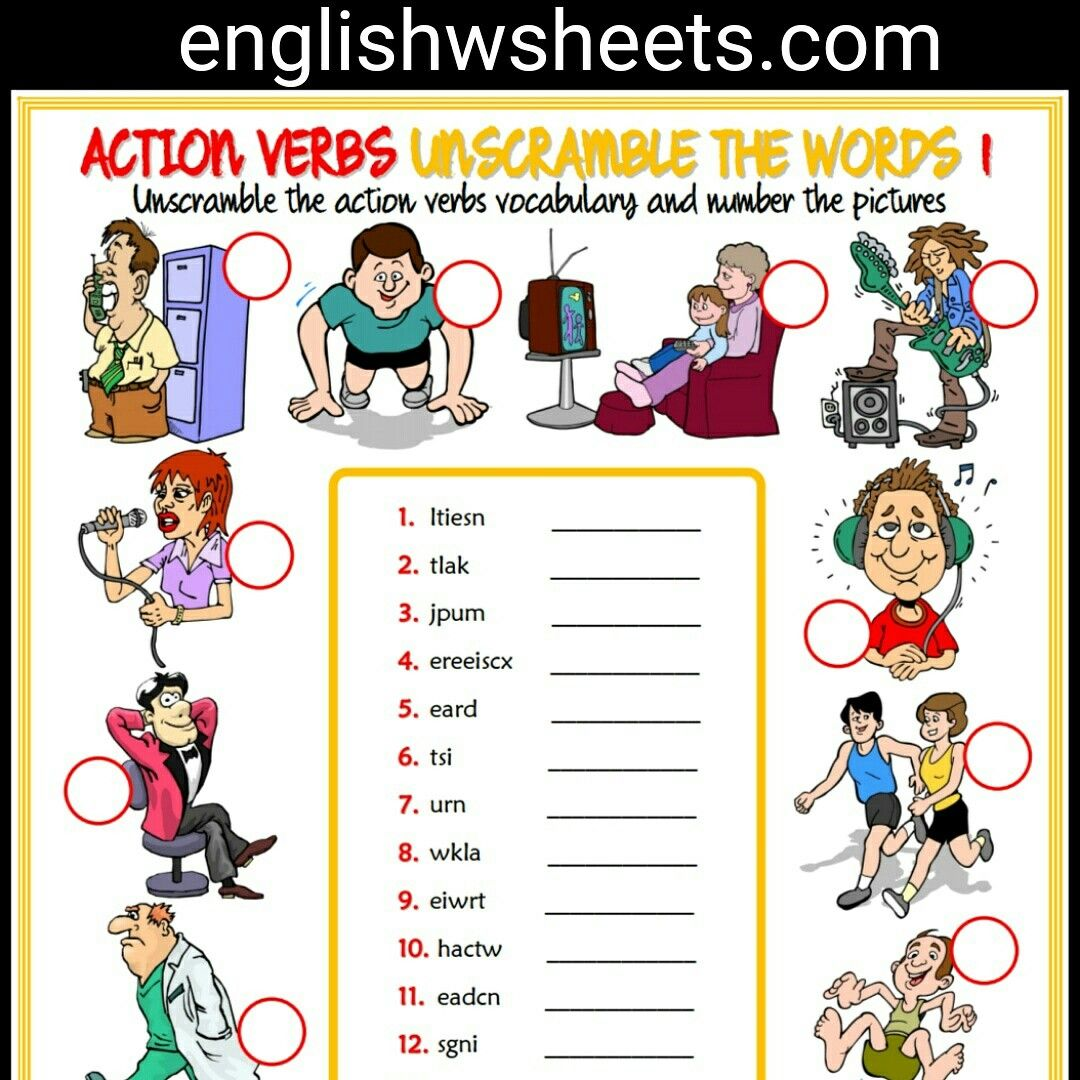 Action Verbs Esl Printable Unscramble the Words Worksheets For Kids ...