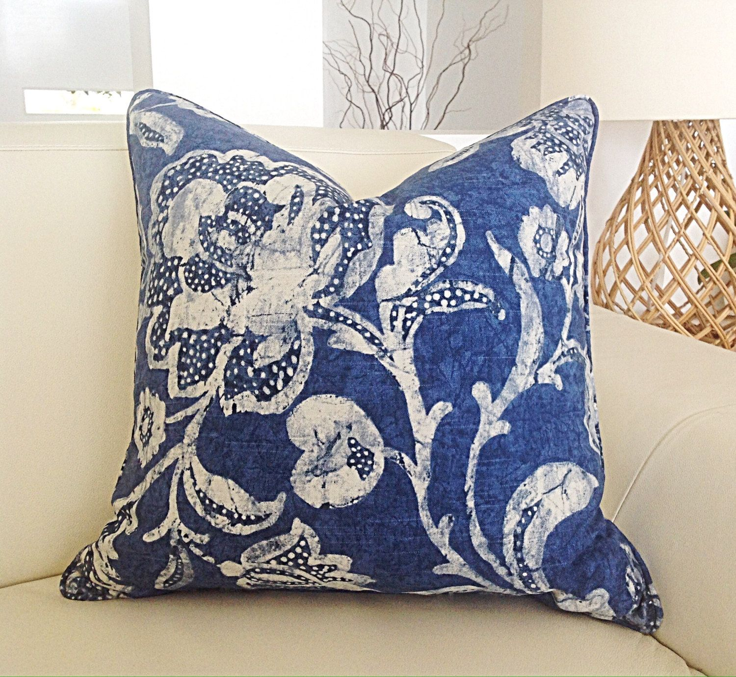 Hampton Style Airy Linens Fresh Blues: Blue And White Linen Hamptons Style Designer Cushion Cover