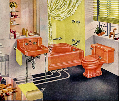 Omg Dont You Too Want An Orange Toilet Bath And Sink Aagghhh No 1940s 50s Bath Decor Illustration Retro Bathrooms Home Decor Vintage Plumbing Fixtures