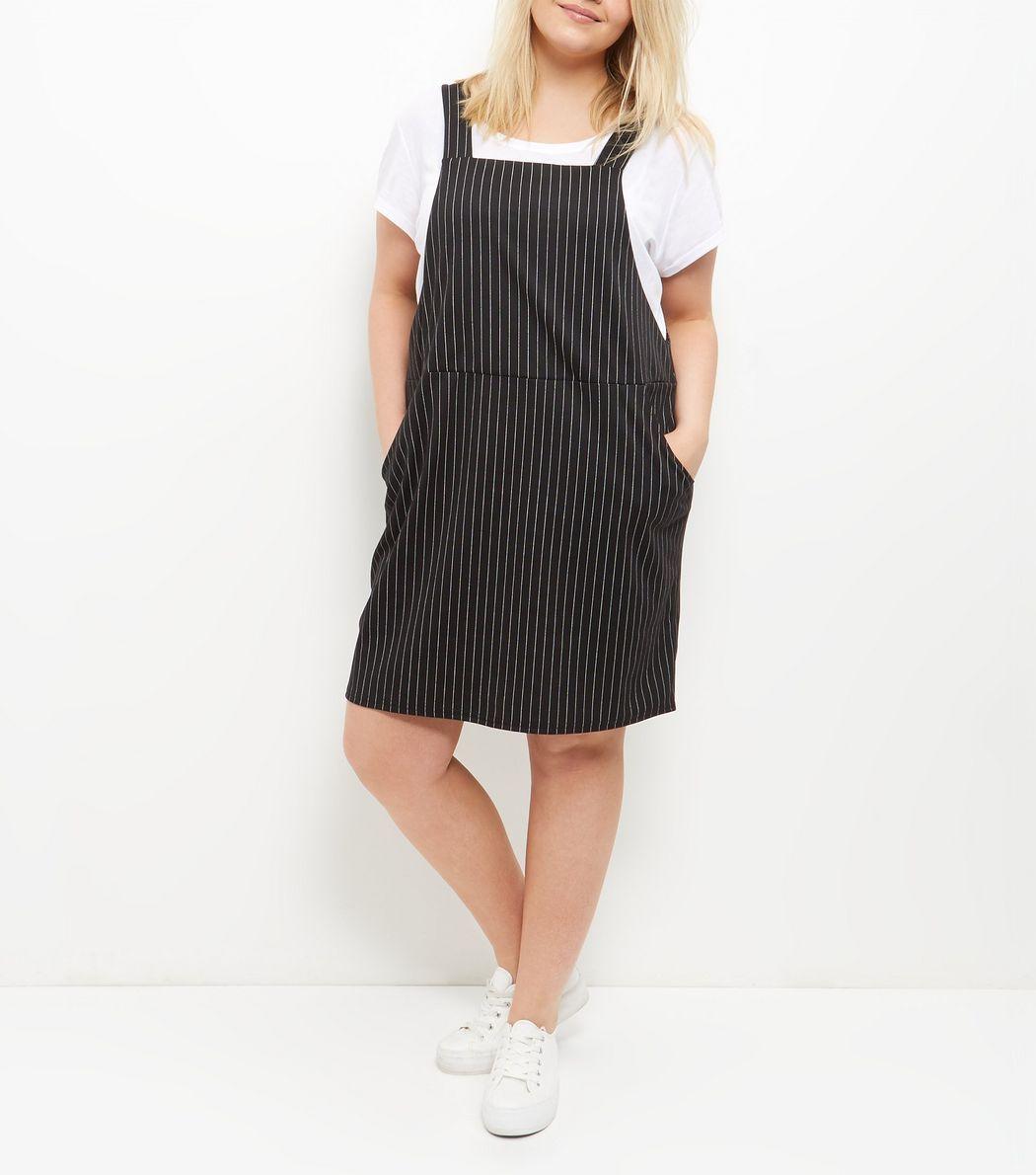103a754a4db Plus Size Black Pinstripe Pinafore Dress