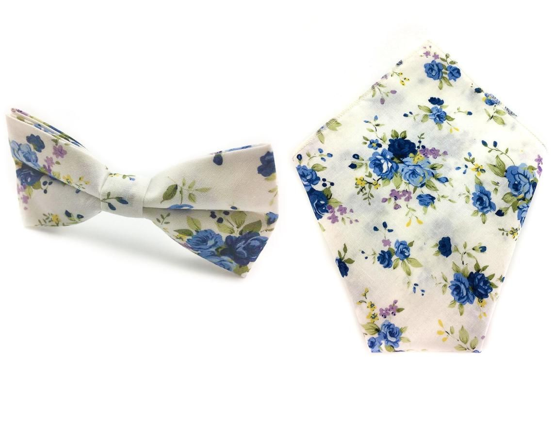 9981d289ead5 White Blue Floral Bowtie and Pocket Square Set | Etsy Handmade Bow Tie  Hanky Combo | Quality Ties and Hankies | Casual Bow Ties Hankie | Groomsmen  Tie Hanky ...