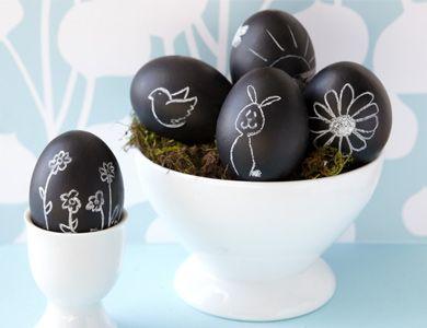 chalkboard paint on eggs - CUTE!