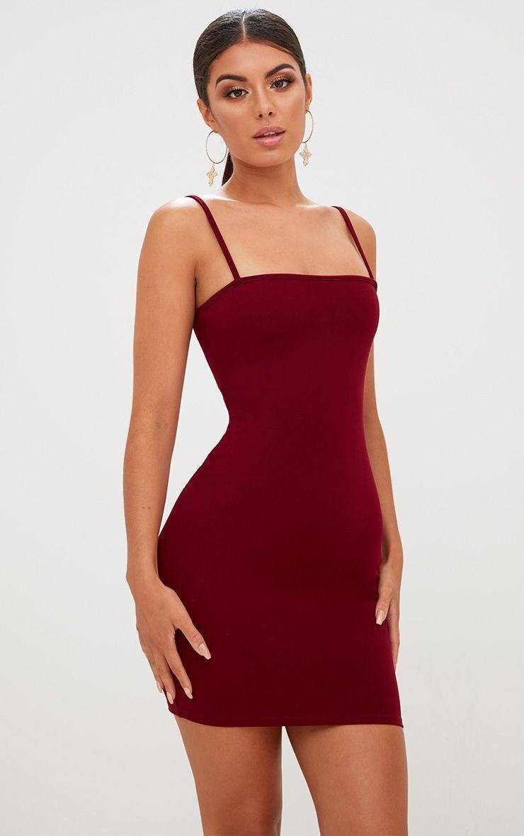 Red Straight Neck Bodycon Dress Bodycon Dress Red Bodycon Dress Red Bodycon Dress Outfit [ 1180 x 740 Pixel ]