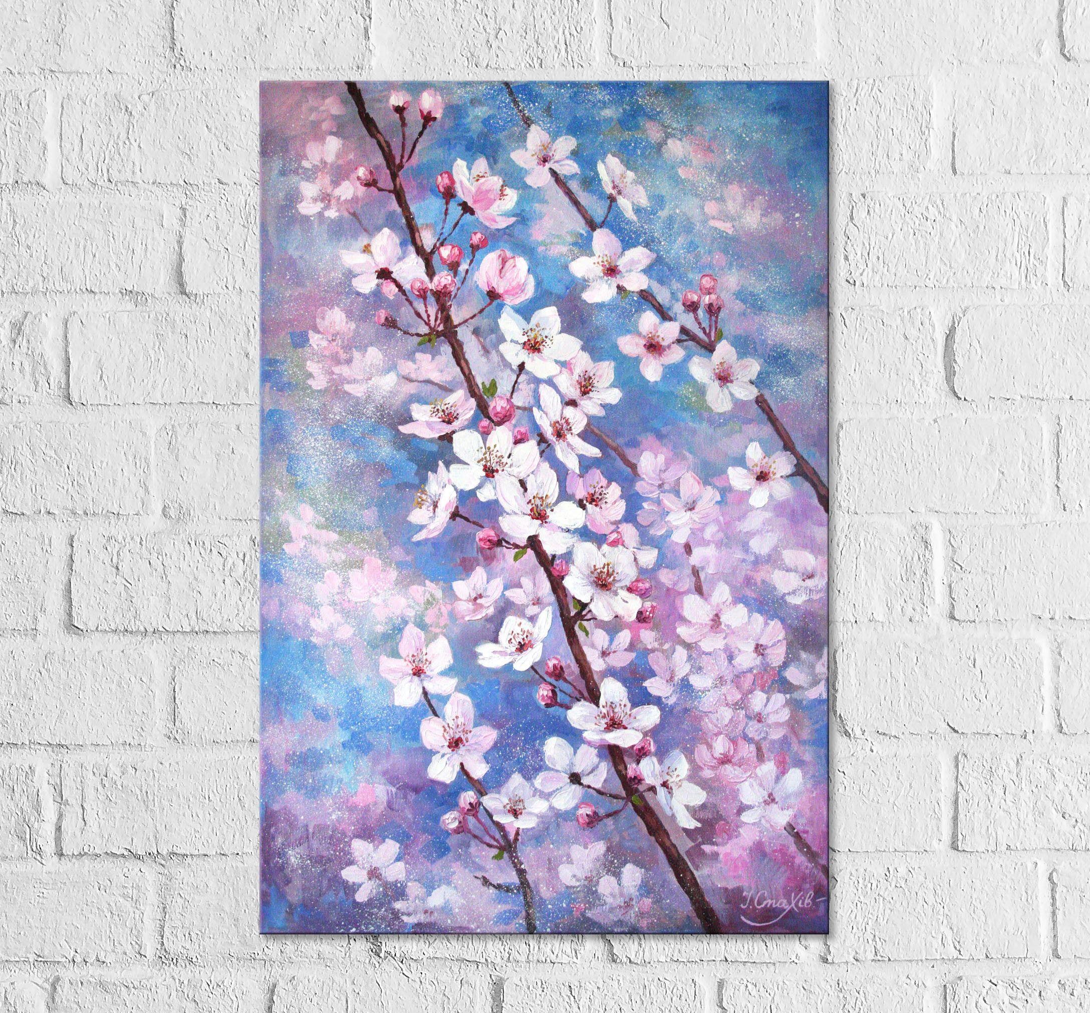 Pink Cherry Blossom Painting Vertical Canvas Art Flowering Cherry Tree Branch Original Wall Art Cherry Blossom Painting Floral Oil Paintings Cherry Blossom Art