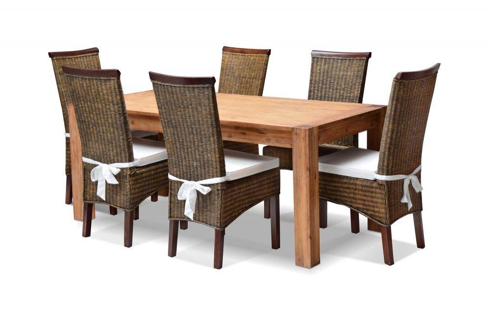 Tisch Mit 6 Stühlen essgruppe arena esstisch 6 stühle inkl ansteckplatte akazie