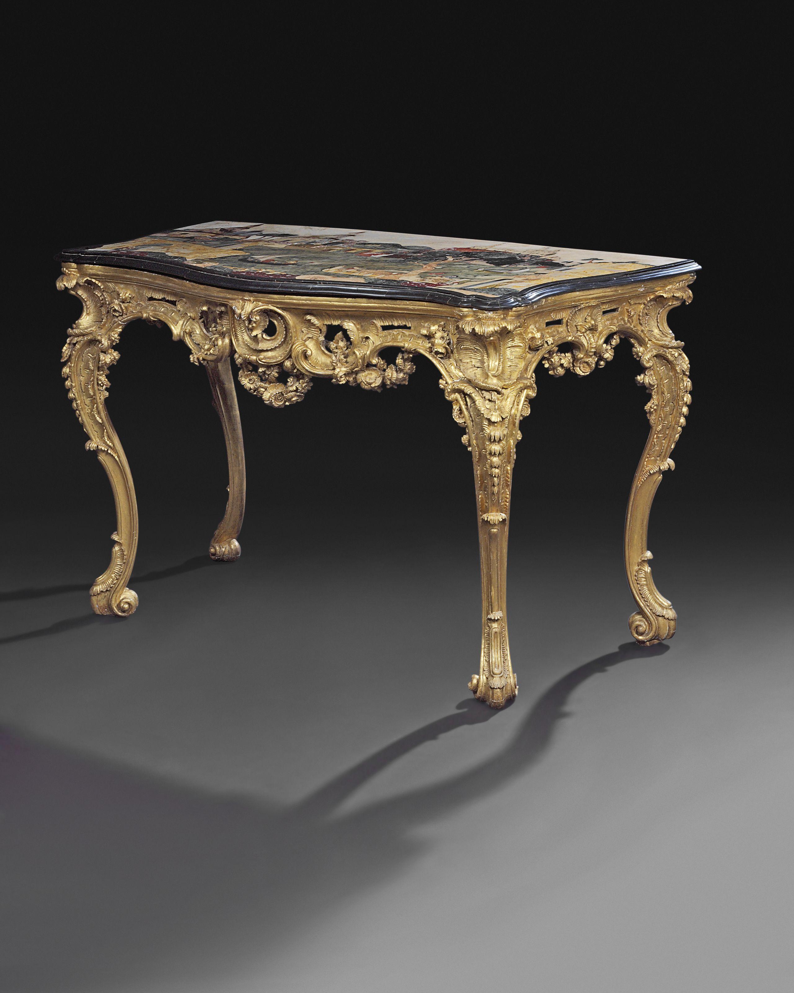 Arredamento Barocco Napoli date unspecified a south-italian pietra dura and giltwood