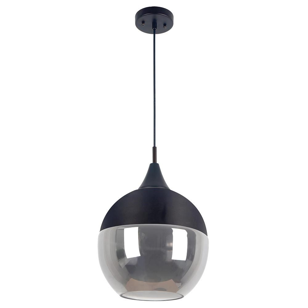 Beldi Popoli Collection 1 Light Black Pendant And Smoked Glass 2210 H0 The Home Depot Pendant Light Black Pendant Light Smoked Glass