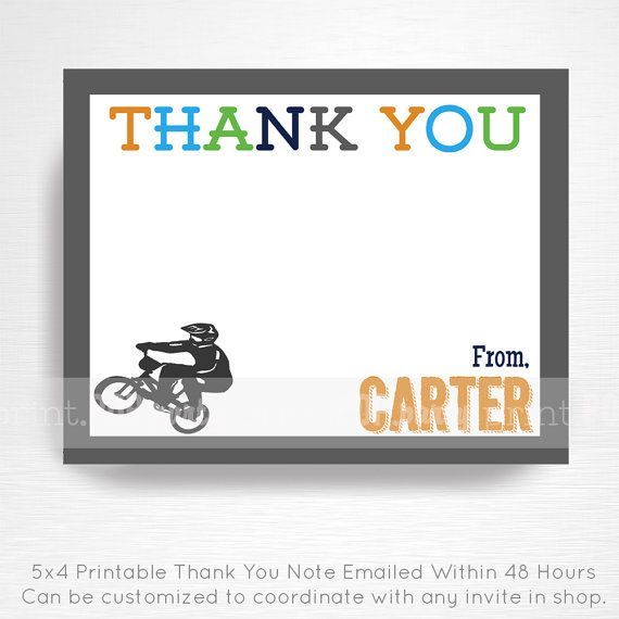 BMX Birthday Party Printable Thank You Note YOU by printpopparty ...