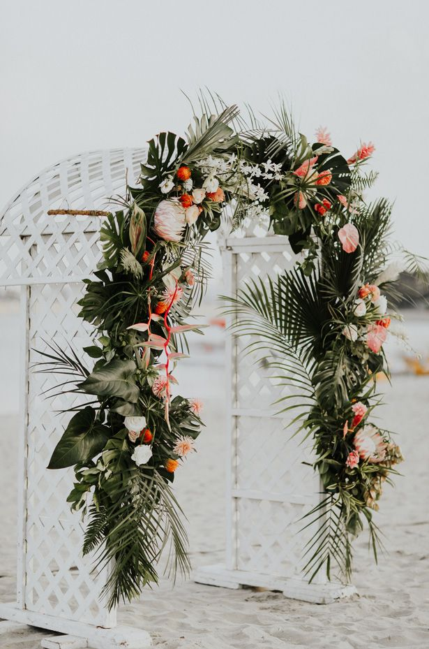 Luxe Tropical Wedding Filled with Modern Sophistication -   18 tropical wedding Arch