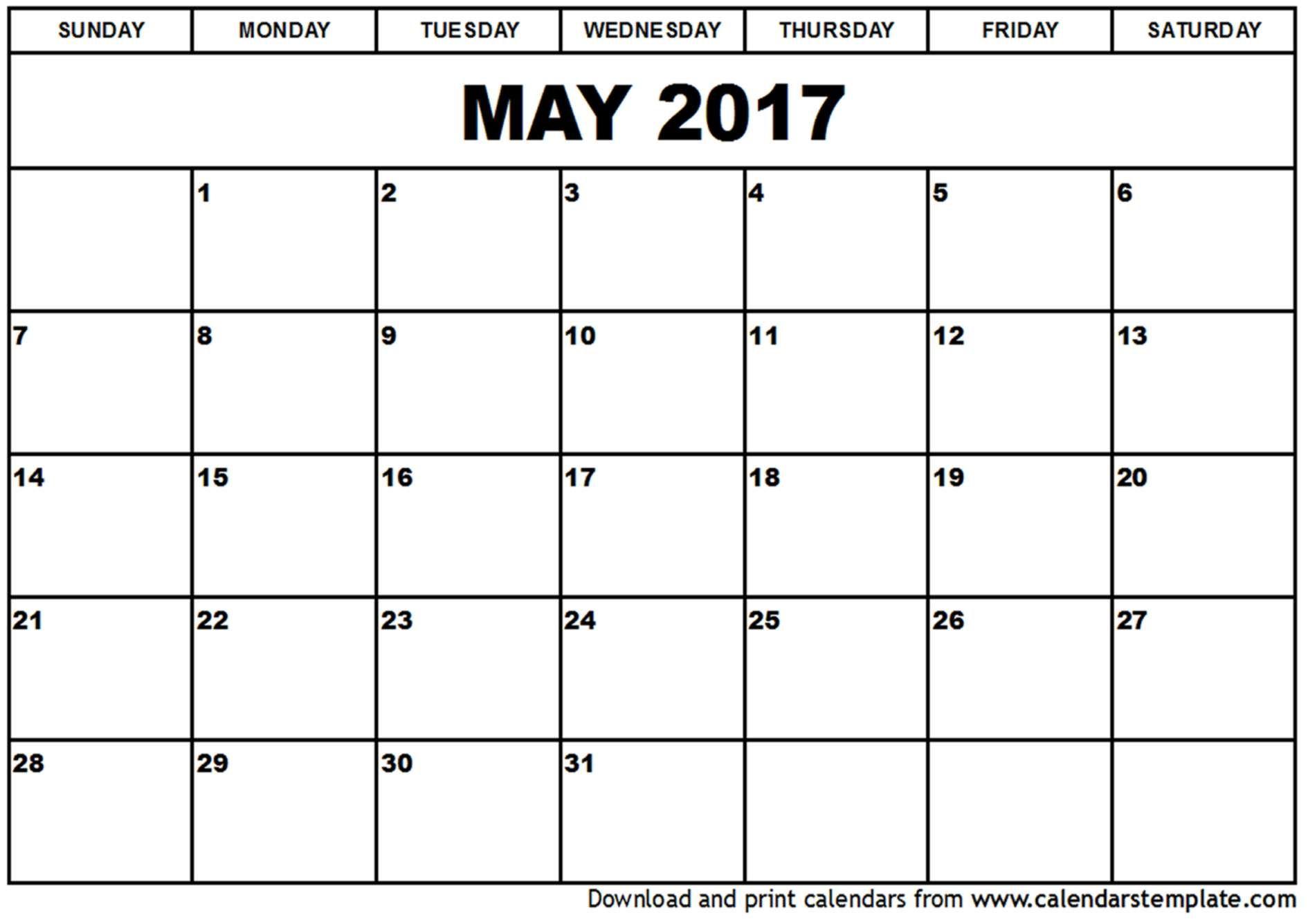 May 2017 calendar template | Organization Ideas | Pinterest