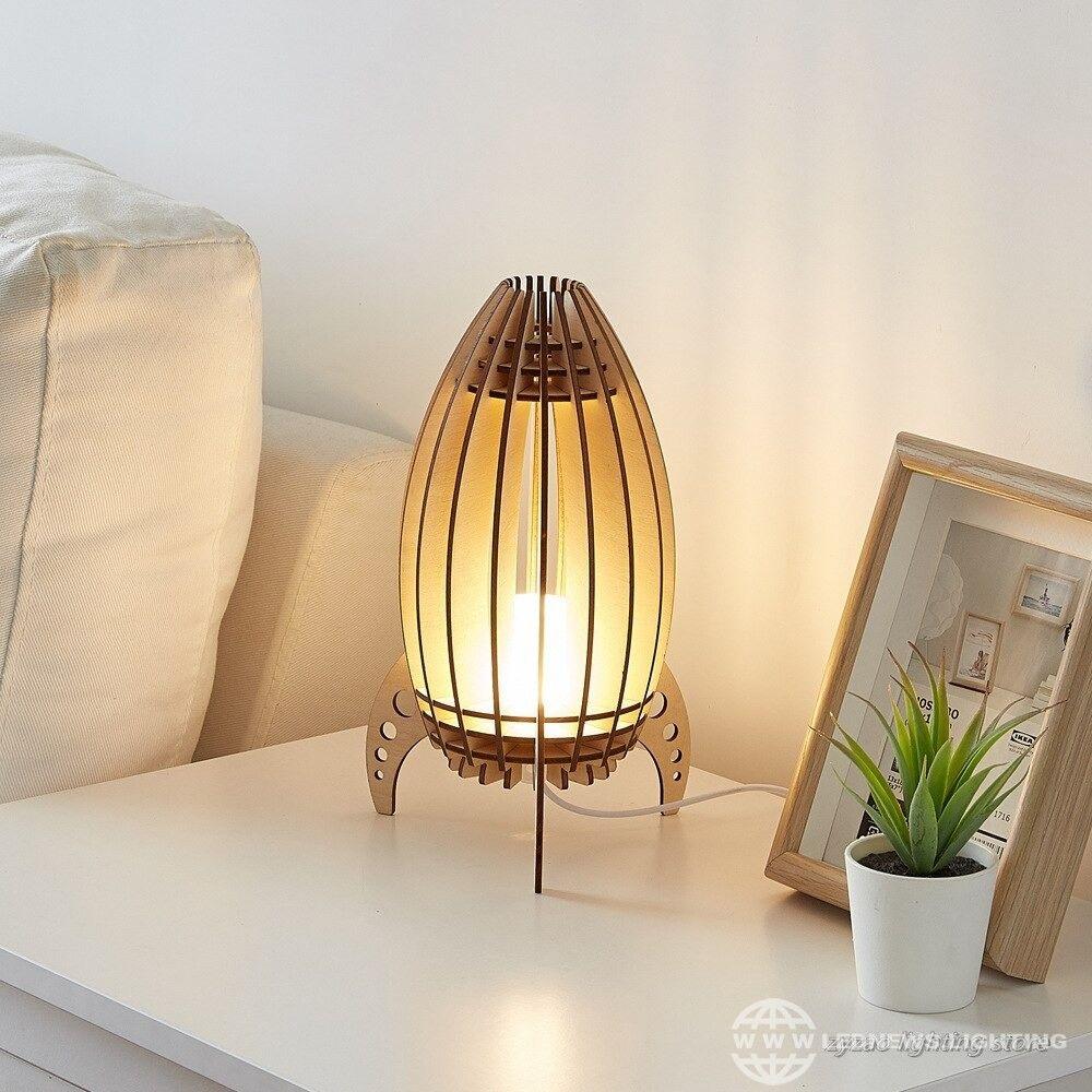 32 43 42 43 Creative Rocket Boy Children Gifts Led Table Lamp Bedroom Bedside Lamps Wooden Carved Table Lamps For Bedroom Wooden Bedside Lamps Lamp